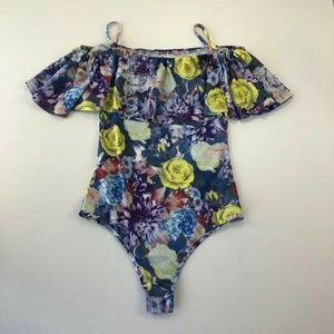 Swimsuit M Blue Yellow Floral Layered One Piece